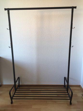 Ikea Portis stojący czarny wieszak na ubrania