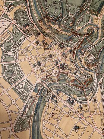 Luksemburg - plan miasta - stary - dekoracyjny