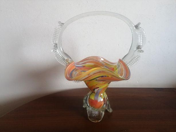 Duży szklany koszyk Ząbkowice kolorowe szkło z PRL