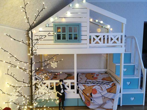 детская двухъярусная кровать Уютное гнёздышко, кровать двухярусная