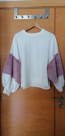 Sweatshirt branca e rosa Zara