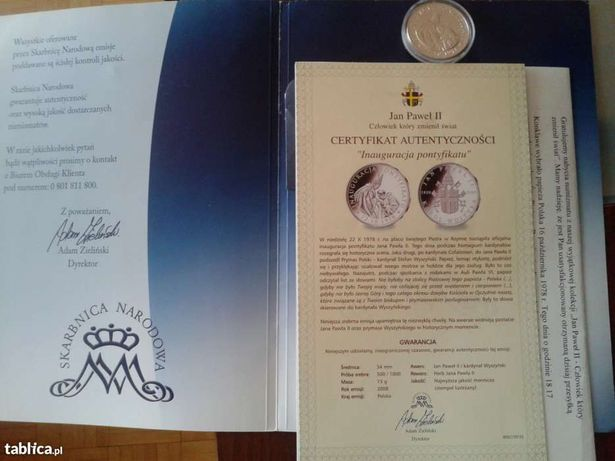 Medal okolicznościowy Inauguracja Pontyfikatu Jana Pawła II