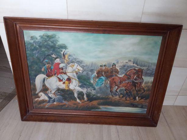 Piekny duży obraz reprodukcja Kossak w drewnianej ramie