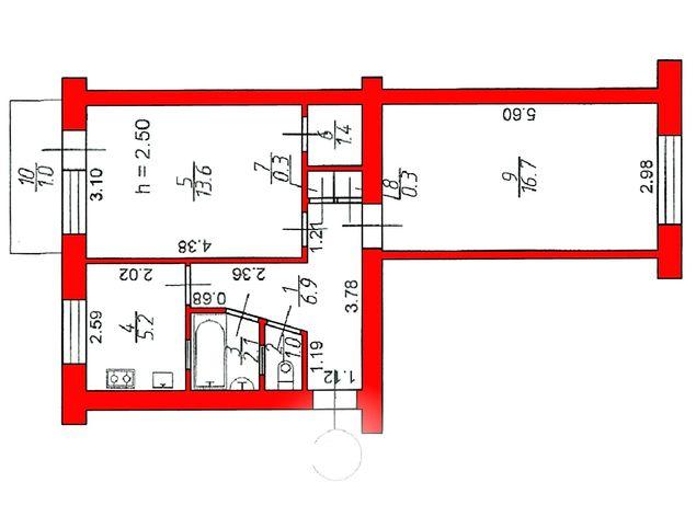"""2 кімн квартира , в районі РЦ""""Промінь""""48.5 кв м"""