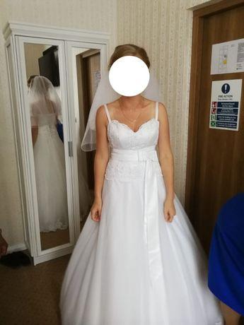 -OKAZJA - Suknia ślubna - modna - klasyczna - prosta - rozmiar 38