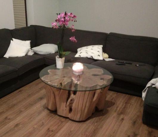 Stół/ stolik kawowy z pnia/ odziomka pnia drewniany akacja