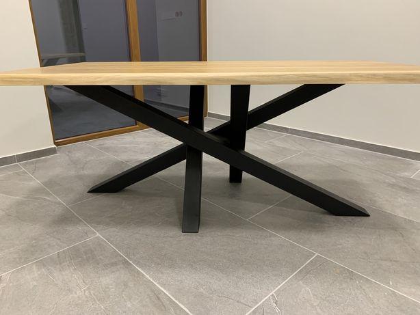 Nowoczesny stół dębowy rozkładany metalowe nogi styl loft