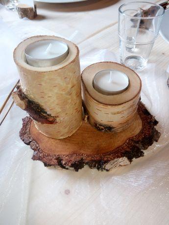 Świeczniki, ozdoby z drewna
