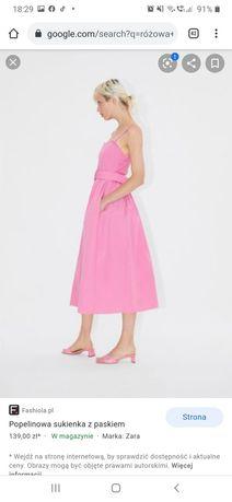 Różowa sukienka Zara  XXL