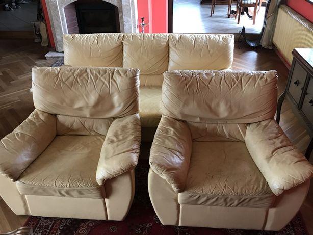 KLER dwa fotele ze skóry naturalnej licowej beż/ecru do renowacji