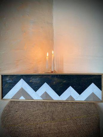 Obraz drewniany Panorama gór Mozaika, Wooden picture 78x21,5 cm
