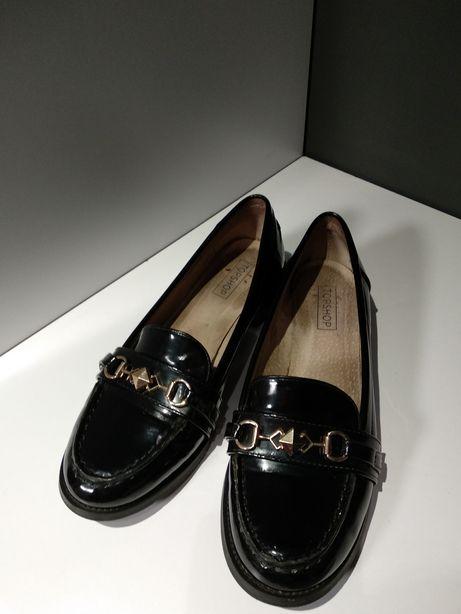 Стильные лоферы TopShop 24,5 см (черные туфли, балетки, мокасины, лак)