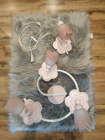 Lampa żyrandol i kinkiet Alfa Maria różowy kwiatki