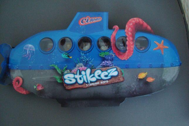 """Новая Коллекция Stikeez """"Из глубины морей"""" в папке- подводной лодке"""