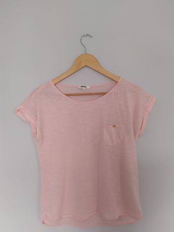 Różowa bluzka krótki rękaw z kieszonką Kotton M jak nowa