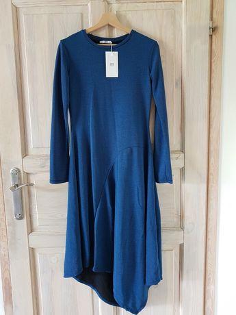 Niebieska asymetryczna sukienka Zara S nowa