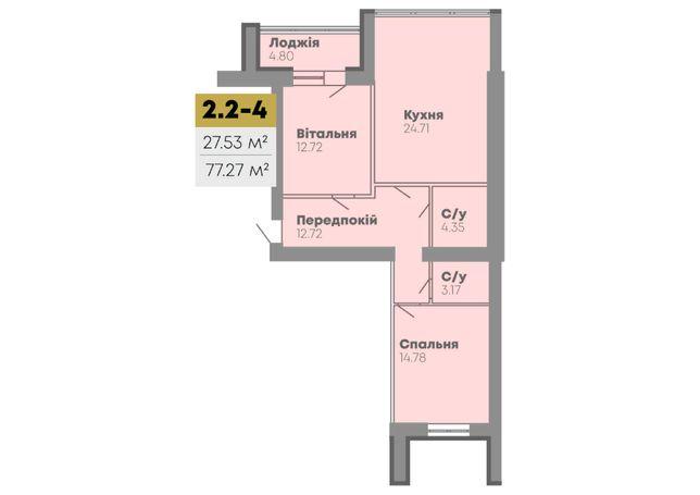 Продажа новой 2х комнатной квартиры, 77.27 кв.м ЖК CENTRAL HOUSE