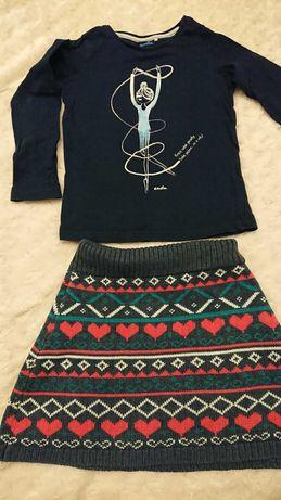 Zestaw ciepła spódniczka + bluzka endo
