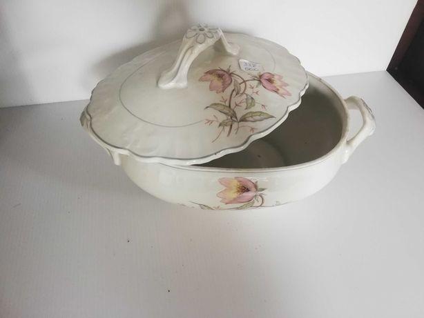Pack Terrina + Travessa em porcelana com decoração antiga
