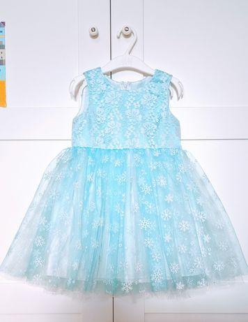 ПРОКАТ. Платье карнавальное снежинка. Размер 98-104