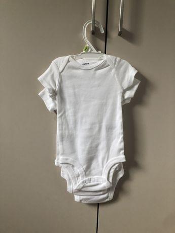 3 nowe body niemowlęce z krótkim rękawkiem białe Carter's