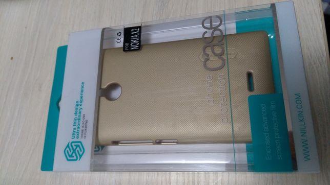 Защитный чехол бампер защитная пленка на экран Nillkin Nokia X2 Gold
