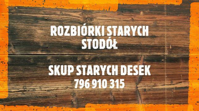 Rozbórki starych stodół drewnianych. Stodoła. Stare deski.