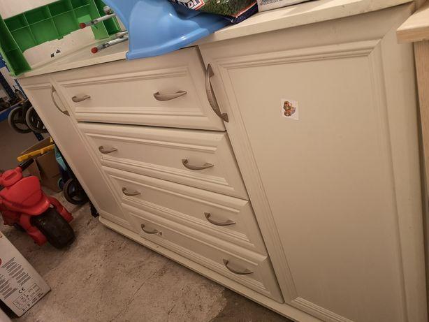 Komoda biała 4 szuflady/2 drzwi