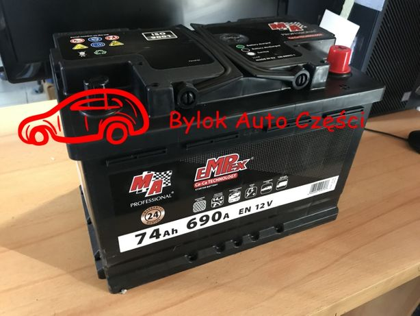 """AKUMULATOR 74AH/690A """"Moje Auto"""" NOWY!!! Prawy+ """"Bylok Gliwice"""""""