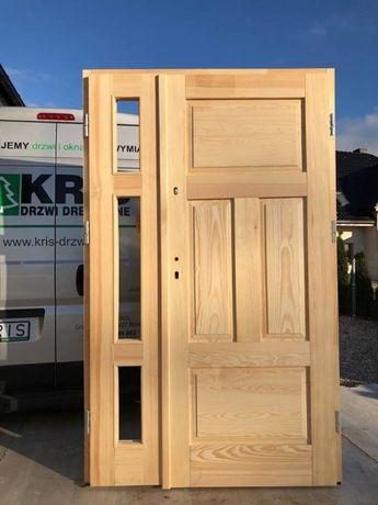 Drzwi dwuskrzydłowe ZEWNĘTRZNE OCIEPLANE DREWNIANE 138 x 212cm od ręki