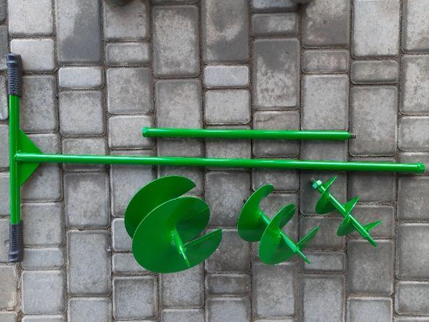 Бур садовый, ручной. Три шнековые насадки 100,150 и 200 мм. Удлинитель