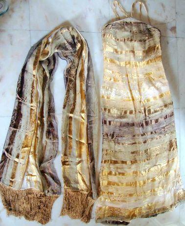 Vestido comprido,cerimónia, seda e viscose,tons dourados,muito bonito.