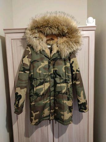 Piękna kurtka płaszcz moro futro miś zima zimowa M 38