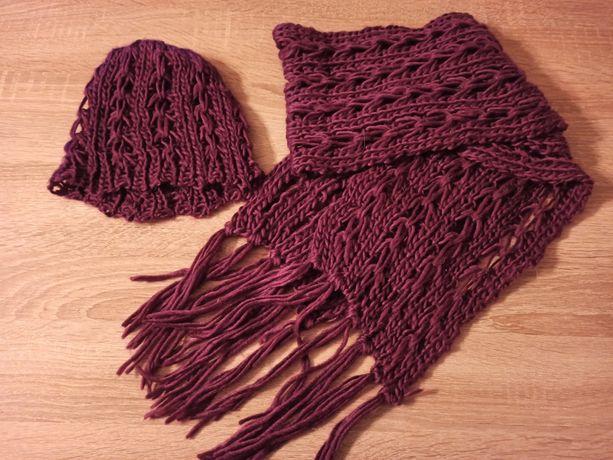 Komplet szalik i czapka w kolorze fioletowym stan bardzo dobry tanio