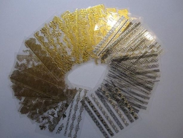 Złote i srebrne samoprzylepne naklejki na paznokcie ozdoby 3D