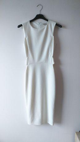 Biała ołówkowa sukienka midi dopasowana wycięcia obcisła zamek asos