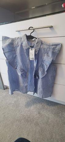 Mango elegancka bluzeczka delikatnie mieniaca srebrna nic rozmiar L