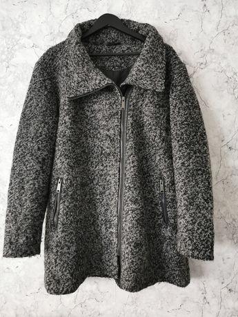 Wełniany płaszcz Boucle rozmiar 46 melanżowy wełna duży rozmiar