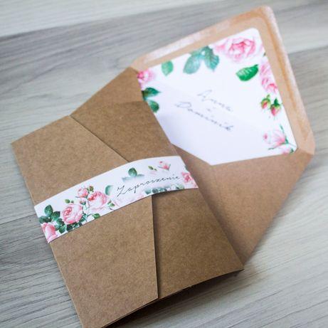 Zaproszenie na ślub ECO róże