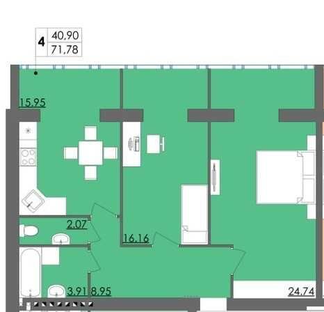 Простора двокімнатна квартира у затишному ЖК