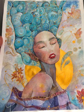 Рисунок акварелью «Девушка на фоне луны»/ малюнок дівчини