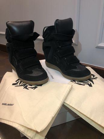 Isabel Marant sneakersy na koturnie czarne Oryginalne!