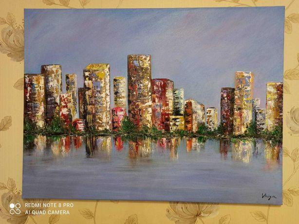 Картина маслом Город над водой 60x80 см от автора