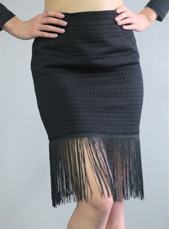 Черная юбка с бахромой, винтажная, ретро