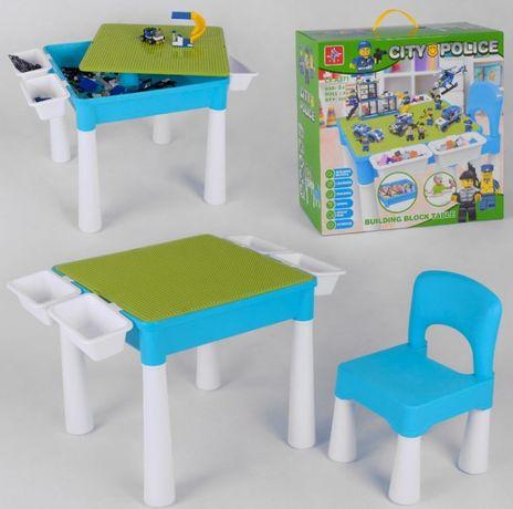 Игровой столик со стульчиком с конструктором лего  LX.A 371 в коробке