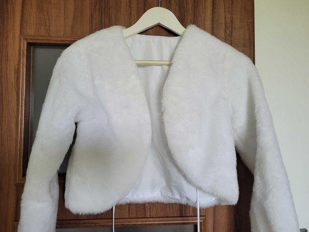 Bolerko białe ślubne futerko rozmiar 36/s