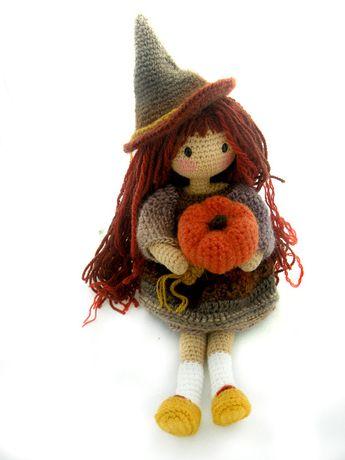 Amigurumi czarownica lalka inspiracja Gorjuss 30cm