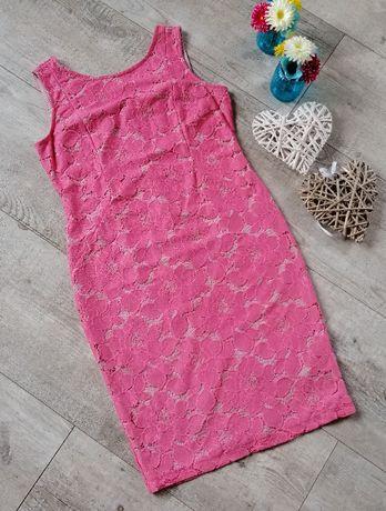 Przecena! M&S_koronkowa sukienka koral/róż_rozmiar 42