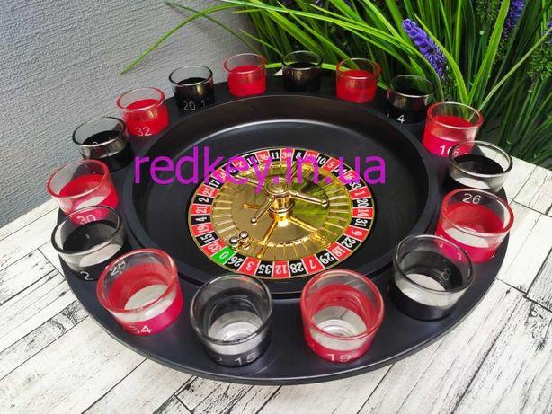 Подарок Настольная игра Алко Рулетка KENVO(пьяная рулетка) 16 рюмок