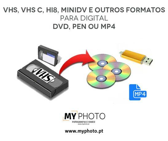 Conversão VHS para pen, video digital ou dvd